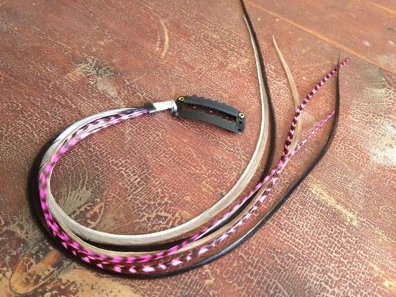 clip en extension cheveux plume rose cheveux grizzly gris. Black Bedroom Furniture Sets. Home Design Ideas
