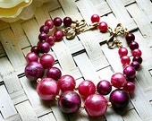 Vintage Plum and Cranberry Beads Double Strand Beaded Bracelet