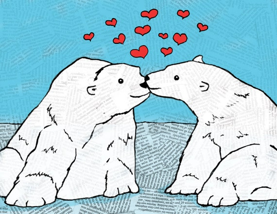 Polar Bears Love Greeting Card, You Melt My Heart, Romantic, Anniversary, Valentine's Day, Hipster, Hand Illustration, (Item 281)