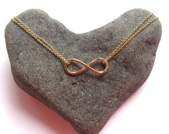 Gold Infinity Necklace, Hammered, Infinity Jewelry, Anniversary, Bridesmaid Gift, Friendship, Handmade