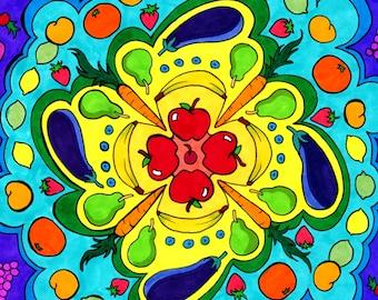 Veggie Mandala (Fruits and Vegetables Kitchen Celebration Copic Marker Psychedelic Spiritual Buddhist Hindu Meditation Drawing)
