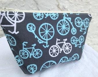 Blue and Gray Bicycles Small Makeup Bag