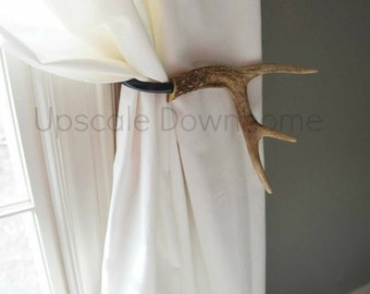 Antler Curtain Tie Back Holdback SET Cabin Decor Primitive Natural Rustic Woodland Size Medium