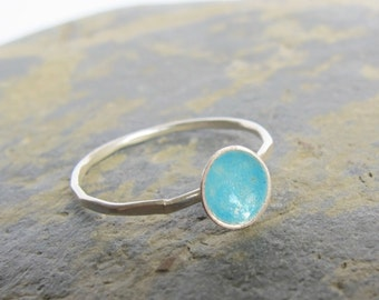 Sterling silver ring with turquoise blue enamel- Thin dainty ring