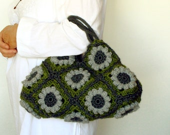 Floral crochet handbag in olive green and gray flowers, crochet tote bag, shoulder bag, flower purse
