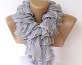 ruffle scarf, knitted scarves, 2014 scarf trends, Cotton scarf, knitting scarf, neckwarmer, fashion accessories, summer SALE