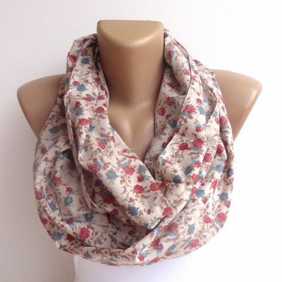 floral cotton scarf floral infinity scarf .loop scarf