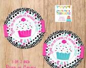 PINK TEAL ZEBRA cupcake favor tags- You Print - 2 to choose