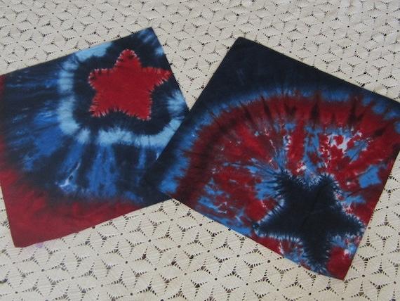 Tiedye Bandanas, patriotic, July 4, Veterans, USA, star, red white and blue