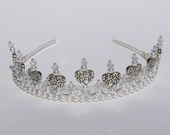 Silver Hearts, Crystal and Pearl Tiara