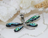 Abalone Dragonfly Pendant Necklace Sterling Silver