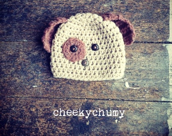 Puppy dog with ears crochet beanie hat. Great photo photography prop.