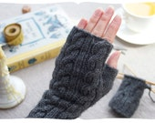 video tutorial kit, learn to knit cabled fingerless gloves. long, elegant grey handwarmer, available in spring colours. old school.