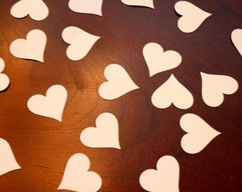 200 piece 1 inch Paper Heart  White card stock Confetti decoration