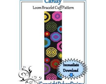 Bead Pattern Loom(Bracelet Cuff)-Candy