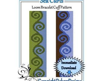 Bead Pattern Loom(Bracelet Cuff)-Sea Curls