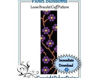 Bead Pattern Loom(Bracelet Cuff)-Violet Blossoms
