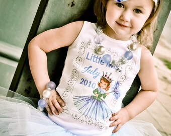 girls clothing birthday tee shirt childrens tshirt Little Miss January thru December birth month tshirt...