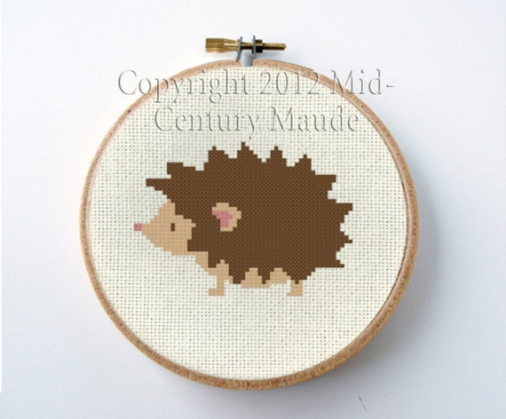 HedgeHog Cross Stitch Pattern Instant Download PDF Digital Needlepoint Easy