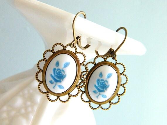 Blue Rose Earrings, Flower Earrings, Blue Floral Earrings, Retro Earrings, Shabby Chic Earrings, Tea Party Earrings, Blue Bohemian Earrings