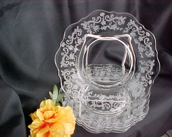 Cambridge Glass Chantilly Etch Bread and Butter Plates (4) Vintage Etched Crystal Collectible Glass, Mid Century Glassware, 1930s Dinnerware