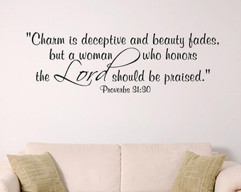 Women of the Lord home wall decal, Young Woman or dorm wall decal, bible verse wall art