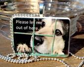 Sad Shelter Dog  Game Tile Pendant