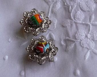 Vintage clip-on  Millefiori earrings