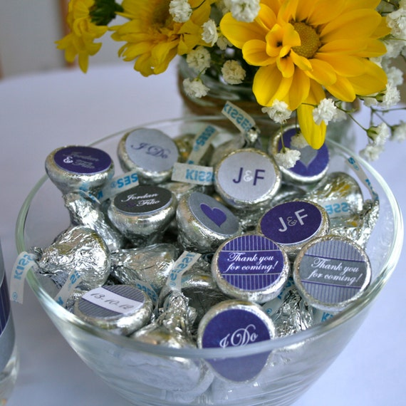 Items Similar To Wedding Or Bridal Shower Personalized Chocolate Kiss Labels In Purple And Grey For Favors Candy Buffet Print Your Own On Etsy