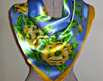 SALE - Vintage Scarf  Floral Gorgeous Scraves Periwinkle Blue   B106