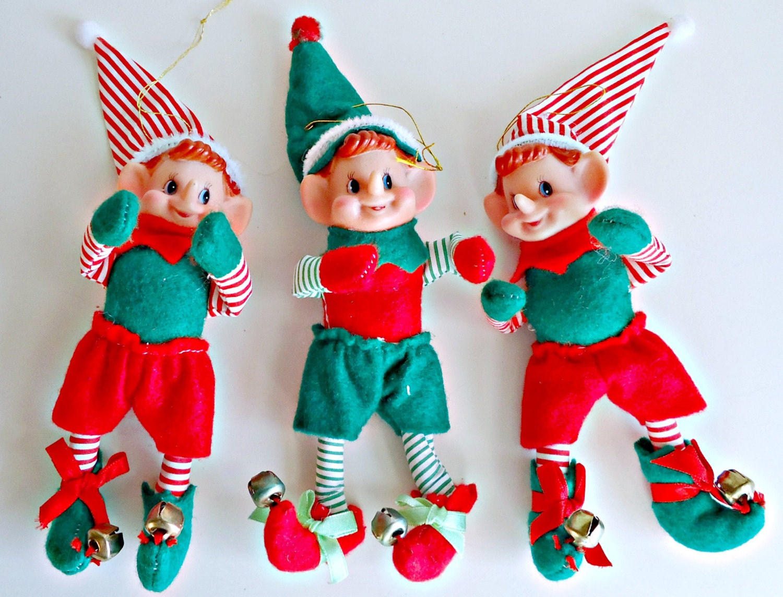 3 Vintage Christmas Elves Elf Ornaments Christmas Decoration