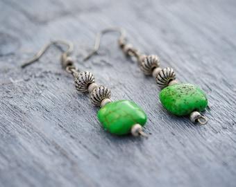 Green Beaded Earrings, Green Turquoise Howlite Drop Earrings, Autumn Earrings, Everyday Green Stone Bead Earrings, Birthday Gift For Her