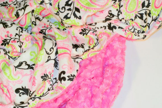 Adult Minky Blanket - Pink & Lime Green Paisley Double Minky Adult Blanket with Hot Pink Swirl Minky