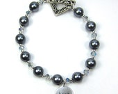 """Grey Pearl Bracelet Swarovski Pearl and Chinese Crystal """"Pearls of Hope for Haiti"""""""