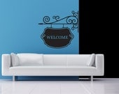 Vinyl Decal, Hanging Sign, Styled like Wrought Iron, Customized - Decal, Sticker, Vinyl, Wall, Home, Office, Family Decor