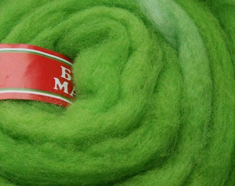 50gr- 1.76 oz Green wool roving Wool for Felting  U 80 006