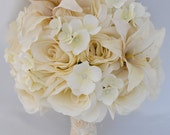 "17pcs Wedding Bridal Bouquet Silk Flower Decoration Package Centerpiece IVORY ""Lily of Angeles"""