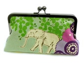 Clutch purse Elephant and Giraffe in the Savannah - Echino Japanese Linen fabric in green, purple, seafoam and blue bag