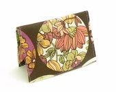 Business Card Holder - Floral in green, brown, orange, pink and purple