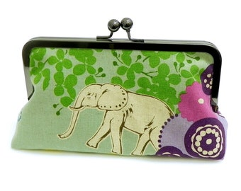 Clutch purse Elephant and Giraffe in the Savannah - Echino Japanese Linen fabric in green, purple, seafoam and blue bag