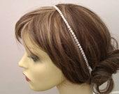 Rhinestone Headband, Single Row Rhinestone Headband, UK Seller, Ribbon Tie Headband,  Bridal Rhinestone Headband, British Seller UK
