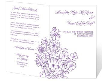 Wedding Program Template Printable - INSTANT DOWNLOAD - Violets Floral