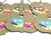 Owl gift tags, scalloped large