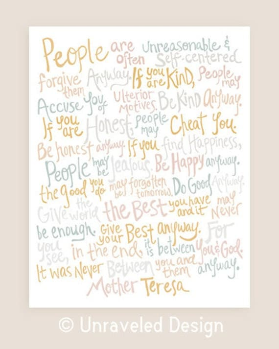 11x14-in Mother Teresa Quote Illustration Print.