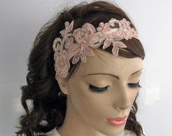 Pink Applique Lace Bridal Hair Fascinator, Rose Quartz Head Piece, Bridal Headband, Romantic Wedding