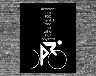 Triathlon Art Typography Poster Print - Mental Game - Exercise Athlete Digital Art Black