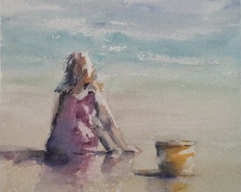 """beach, child playing, girl, yellow bucket, pink, sand, figurative. A Day With Yellow Bucket. original watercolor painting (6"""" x 6"""")"""