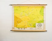 Vintage Pull Down Map, Meteorological Chart Europe, Dutch School Chart
