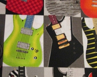 Modern Guitars Rock And Roll Bright Colors Cotton Fabric Fat Quarter Or Custom Listing