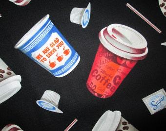 Coffee To Go Drinks Cafe Cotton Fabric Fat Quarter or Custom